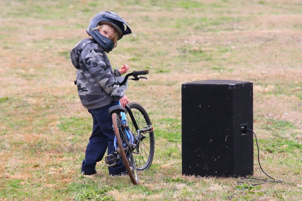 Little boy with BMX bike