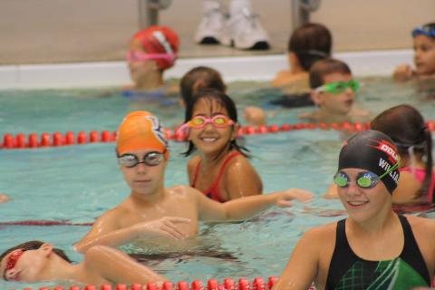 Swim team at practice